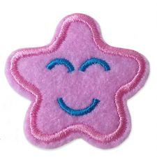 LIGHT PINK SMILING STAR MOTIF IRON ON EMBROIDERED PATCH APPLIQUE